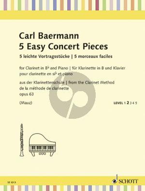 Baermann 5 Easy Concert Pieces Op.63 (from the Klarinettenschule Op.63 Clarinet-Piano