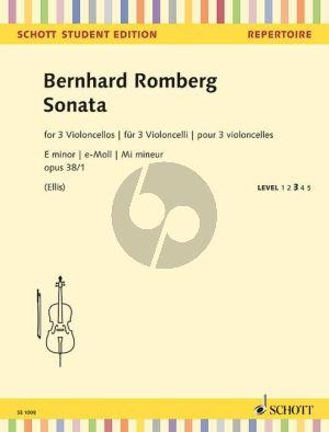 Romberg Sonata e-minor Op.38 No.1 3 Violoncellos (Score/Parts)