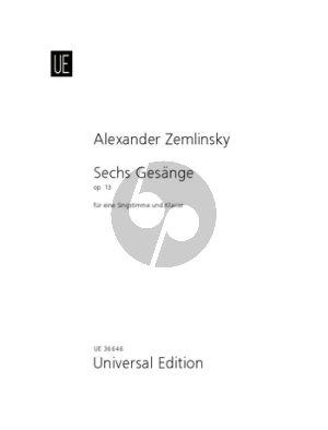 Zemlinsky 6 Gesänge Op.13 (nach texten von Maurice Maeterlinck) Mittelstimme-Klavier