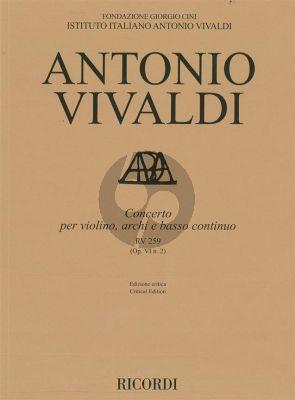 Vivaldi Concerto E-flat major RV 259 (Op.VI/2) Violin-Strings-Bc Score (edited by Alessandro Borin)