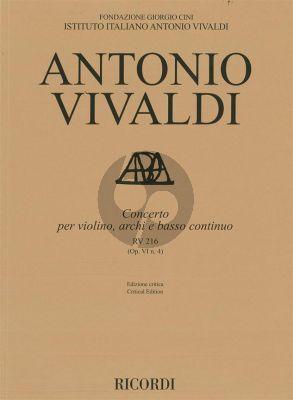 Vivaldi Concerto D-major RV 216 (Op.VI/4) Violin-String-Bc Score (edited by Alessandro Borin)