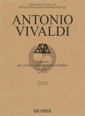 Vivaldi Concerto g-minor RV 318 (Op.VI/3) Violin-Strings-Bc Score (edited by Alessandro Borin)