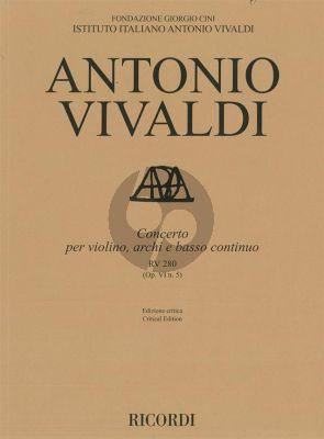 Vivaldi Concerto e-minor RV 280 (Op.VI/5) Violin-Strings-Bc Score (edited by Alessandro Borin)