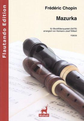 Chopin Mazurka 4 Blockflöten (SATB) (Part./Stimmen) (transcr. Hermann-Josef Wilbert)