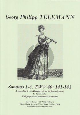 Telemann Sonatas 1-3 TWV 40:141–143 2 Treble Recorders (transcr. Vince kelly)