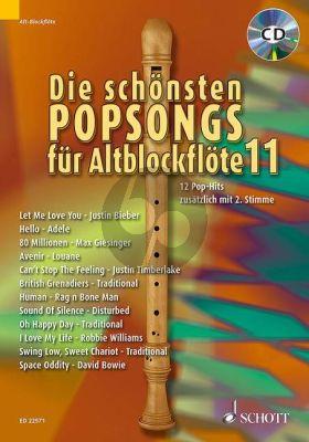 Die schönsten Popsongs für Alt-Blockflöte Vol.11 12 Pop-Hits (Bk-Cd) (arr. Uwe Bye)