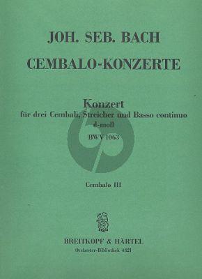 Bach Konzert d-moll BWV 1063 3 Cembali-Streicher-Bc Cembalo 3