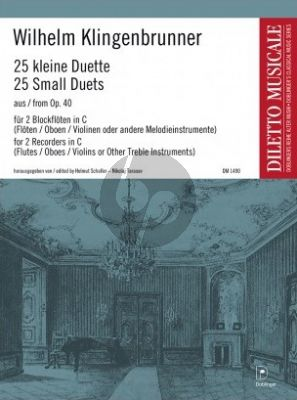 Klingenbrunner 25 kleine Duette aus Op.40 2 Sopranblockflöten