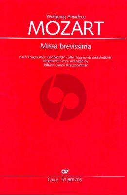Mozart Missa brevissima nach Fragmenten und Skizzen eingerichtet von Johann Simon Kreuzpointner Soli-Chor-Orchester Klavierauszug