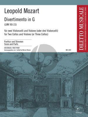 Mozart Divertimento G-Dur 2 Violoncelli und Kontrabass (bzw. 3 Violoncelli) (Part./Stimmen) (ed. Werner Rainer)