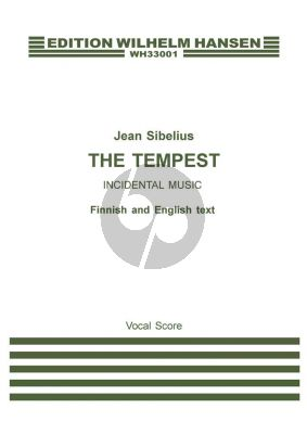 Sibelius The Tempest Op.109 Soloists-Choir-Orchestra Vocal Score