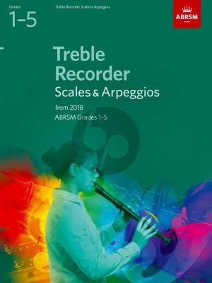 Treble Recorder Scales & Arpeggios, ABRSM Grades 1–5 for 2018