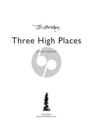Adams Three High Places Violoncello solo