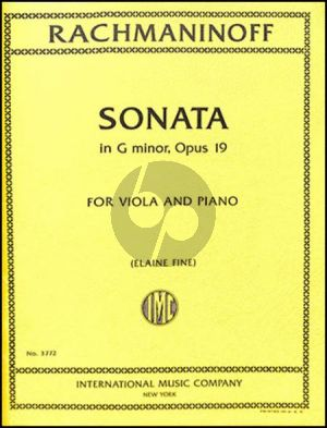 Rachmaninoff Sonata g-minor Op.19 (Original Violoncello) transcribed for Viola-Piano (Transcribed by Elaine Fine)