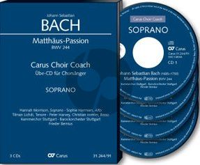 Bach Matthaus Passion BWV 244 Soli-Choir-Orch. Bass Chorstimme 4 CD's (Carus Choir Coach)