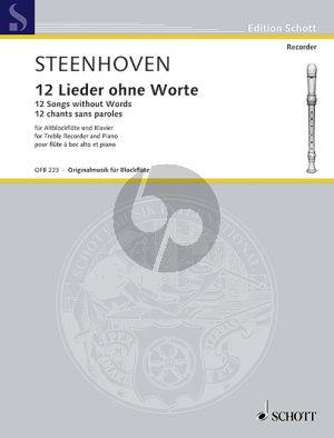 Steenhoven 12 Lieder ohne Worte Altblockflöte-Klavier
