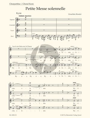 Rossini Petite Messe Solennelle (SATB soli-SATB choir- 2 Piano's-Harm.) (Choral Score) (lat.) (edited by Brauner-Gossett) (Barenreiter-Urtext)