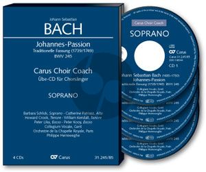 Johannes Passion BWV 245 Soli-Chor-Orchester Alt Chorstimme 4 CD's