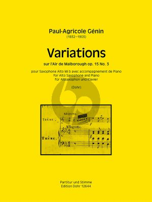 Genin Variations sur l'Air de Malborough Op.15 No.3 Altsaxophon und Klavier (Christoph Dohr)