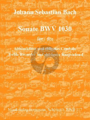 Bach Sonate BWV 1030 für Altblockflöte und obligates Cembalo (Bornmann)
