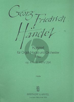 Handel Concerto Bb major Op. 4 No. 6 HWV 294 Organ and Orchestra (Solo Harp part) (A. Lawrence-King)