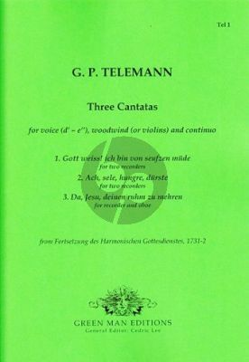Telemann Three Cantatas Voice-2 Recorders(Violins) and Continuo (Score/Parts)