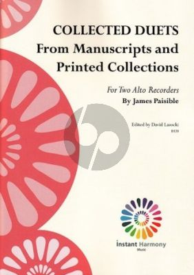 Paisible Collected Duets 2 Treble Recorders (edited by David Lasocki)