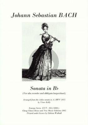 Bach Sonate IV B-dur BWV 1015 Altblockflöte-Cembalo (Vince Kelly)