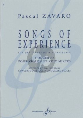 Zavaro Songs of Experience Concerto for Violin solo with Mixed Choir (texts William Blake)