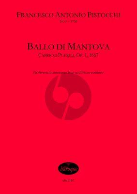 Pistocchi Ballo di Mantova Op.1 für Violine (Blockflöte oder andere Melodieinstrumente) und Bc Partitur und Stimme (Bc ausgesetzt)