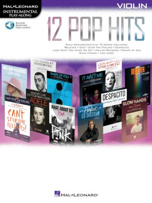 12 Pop Hits Instrumental Play-Along Violin (Book with Audio online)