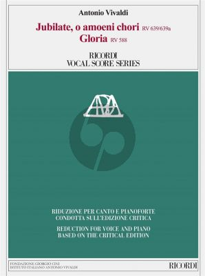 Vivaldi Jubilate, o amoeni RV 639/639a - Gloria, RV 588 Vocal Score