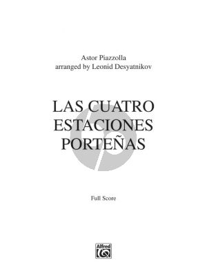Piazzolla Las Cuatro Estaciones Portenas for Solo Violin and String Orchestra (Full Score)