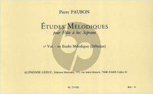 Paubon 20 Etudes melodiques Soprano Recorder