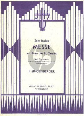 Singenberger Sehr Leichte Messe Zu Ehren Des Heiligen Geistes SATB-Orgel