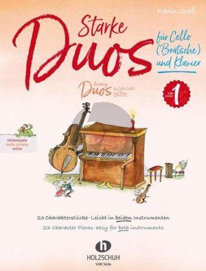 Gross Starke Duos für Cello (Viola) und Klavier (23 Charakterstücke – leicht in beiden Instrumenten)