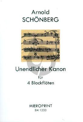 Schoenberg Unendlicher Kanon (Blockfloten Quartett AATB) (Partitur ed. Winfried Michel)