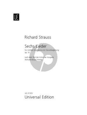 """Strauss 6 Lieder Op.19 TrV 152 Mittlere Stimme-Klavier (aus """"Lotosblätter"""" von Adolf Friedrich von Schack) (dt./engl.)"""