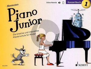 Heumann Piano Junior: Konzertbuch 1 (Die kreative und interaktive Klavierschule für Kinder) (Book with Audio online) (german edition)