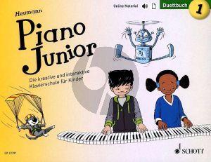 Heumann Piano Junior: Duettbuch 1 (Die kreative und interaktive Klavierschule für Kinder) (Book with Audio online) (german edition)