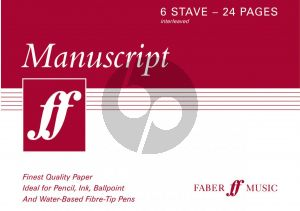 Music Manuscript Book 6 Staves 24 Pages
