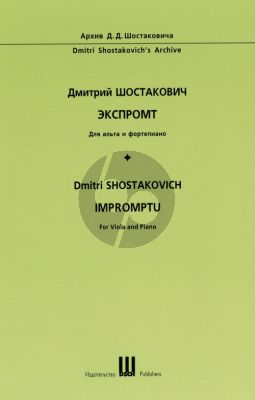 shostakovich Impromptu sans Opus (1931) (Viola and Piano) (First Edition)