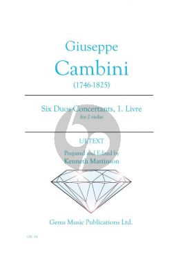 Cambini 6 Duos Concertants Volume 1 for 2 Violas (Prepared and Edited by Kenneth Martinson) (Urtext)