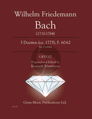 Bach W.Fr. 3 Duetten 2 Violas F. 60 - 62 ca. 1775 (Prepared and Edited by Kenneth Martinson) (Urtext)