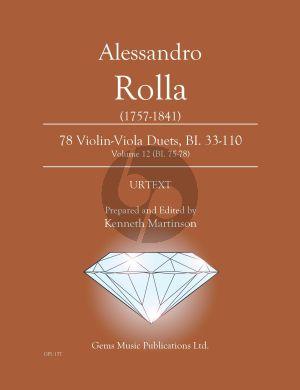 Rolla 78 Duets Volume 12 BI. 75 - 78 Violin - Viola (Prepared and Edited by Kenneth Martinson) (Urtext)