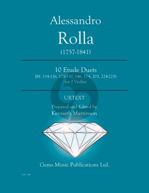 Rolla 10 Etude Duets BI. 114-116, 129 - 130 - 146 - 174 - 203 - 224 - 225 for 2 Violins (Prepared and Edited by Kenneth Martinson) (Urtext)