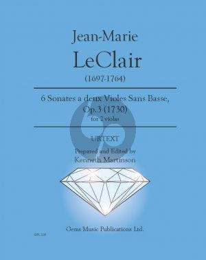 Leclair 6 Sonates Op. 3 no. 1-6 2 Violas (Prepared and Edited by Kenneth Martinson) (Urtext)