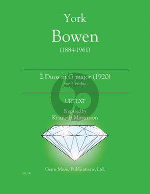 Bowen 2 Duets in G major (1920) 2 Violas (Prepared and Edited by Kenneth Martinson) (Urtext)