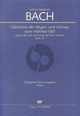 Bach Kantate BWV 18 Gleichwie der Regen und Schnee vom Himmel fällt Soli-Chor-Orchester Partitur (Klavierauszug von Paul Horn) (Frieder Rempp)