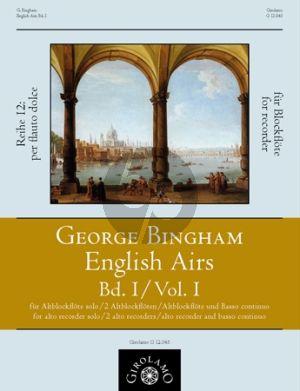 Bingham English Airs Band 1 Altblockflöte solo - 2 Altblockflöten- Altblockflöte mit BC (Franz Müller-Busch)